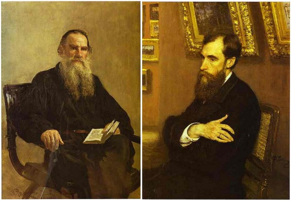 Portrait of Tolstoy and Tretyakov in the Tretyakov Gallery