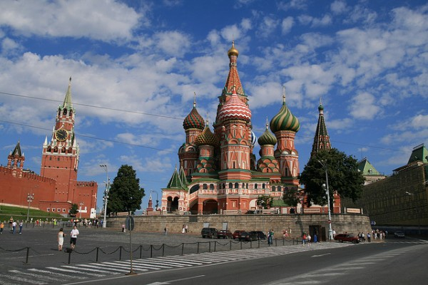 Saint Basil's Cathedral at the edge of the Red Square