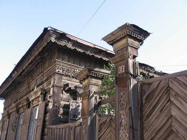Traditional wooden house in Irkutsk