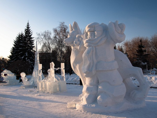 Snow and ice sculptures in Novosibirsk