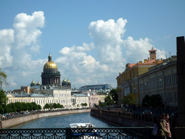 View of St Petersburg from one of the many bridges