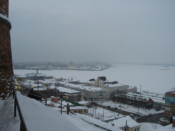 View of Nizhny Novgorod from the foot of the Kremlin