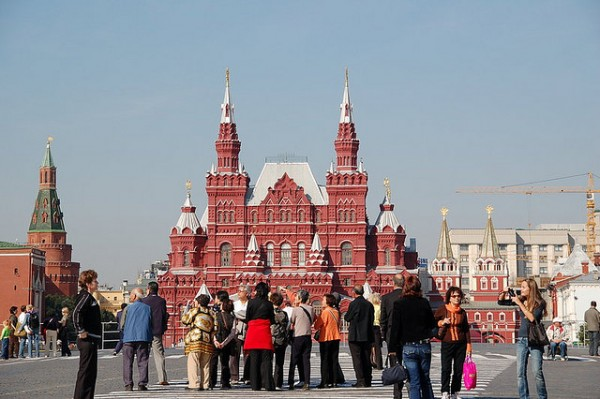 Tourists visiting the attractions of Moscow